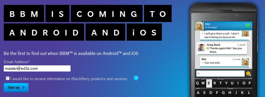 كن اول من يحصل على ماسنجر البلاكبيري للاندرويد و iOS