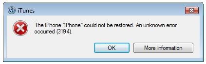 حل مشكلة الخطأ 3194 في الايتونز Error 3194 Fix