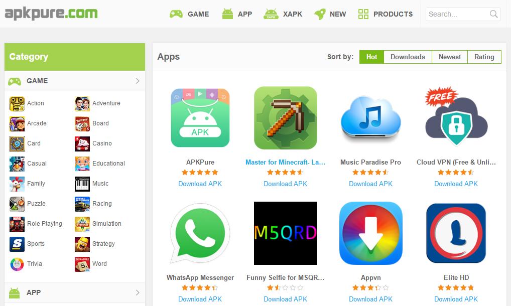 متجر APKPure للتطبيقات والالعاب الخاصة بالاندرويد
