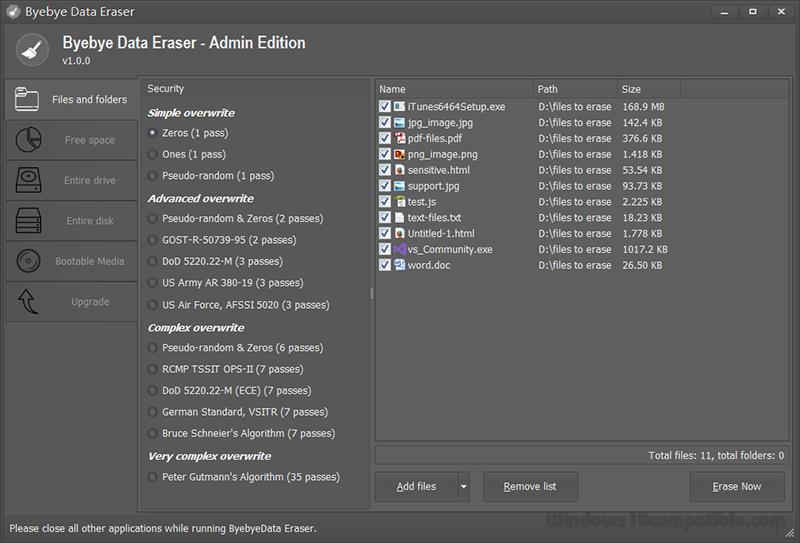 برنامج Byebye Data Eraser مسح الملفات بشكل نهائي