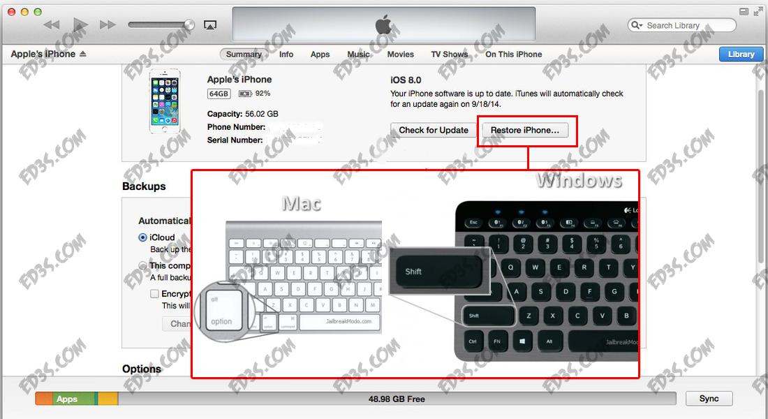 طريقة الرجوع Downgrade من iOS 9.3.4 الى iOS 9.3.3