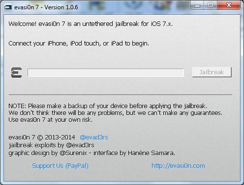 جيلبريك غير مقيد iOS 7.0.6 من فريق Evad3rs