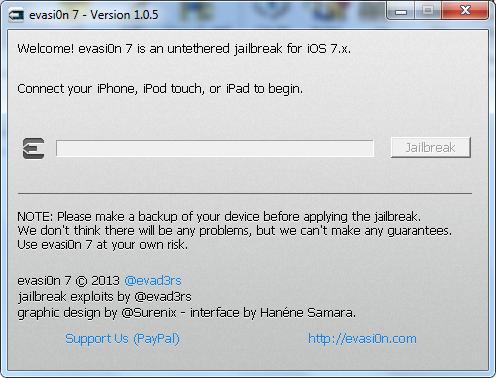 Evasi0n7 جيلبريك غير مقيد iOS 7.0.5 للايفون 5S والايفون 5C