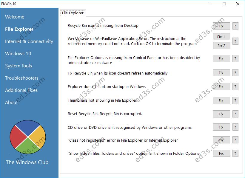 اداة FixWin10 اصلاح مشاكل ويندوز 10