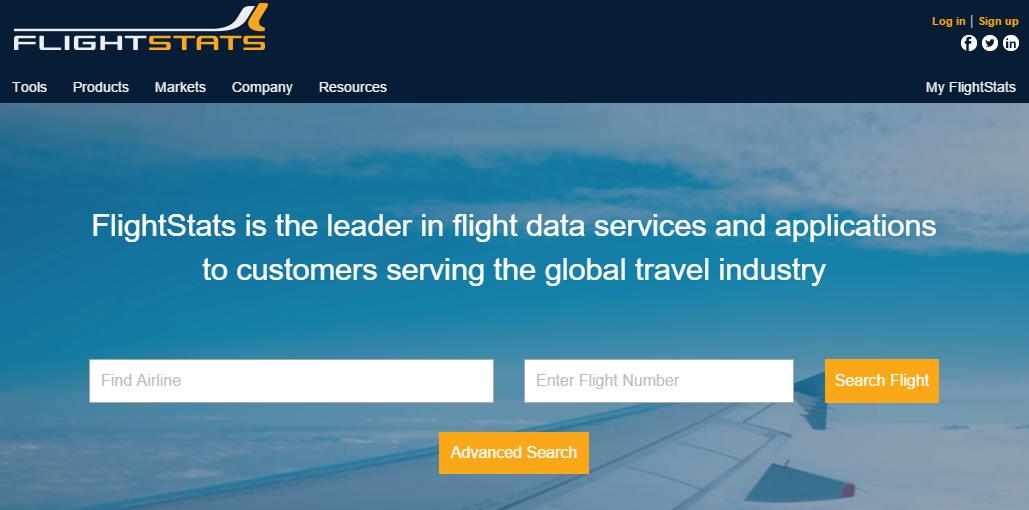 خدمة FlightStats معرفة معلومات عن حجزك