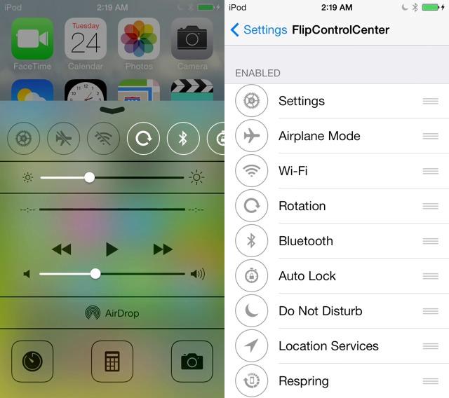 اداة FlipControlCenter لتخصيص مركز التحكم بالايفون