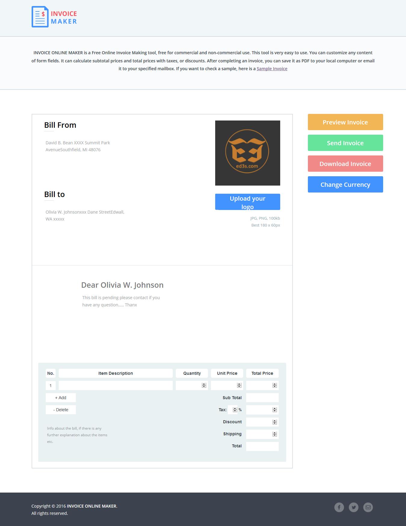 موقع Invoice Online Maker لانشاء فاتورة الكترونية