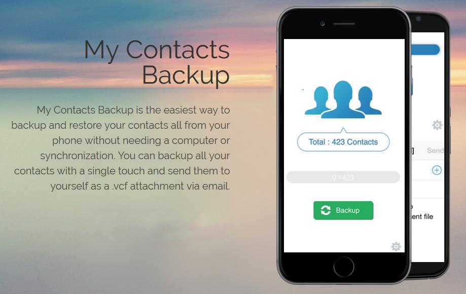 تطبيق My Contacts Backup نقل الاسماء من الايفون للاندرويد
