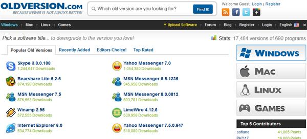 خدمة OldVersion تحميل اي برنامج بإصدار قديم