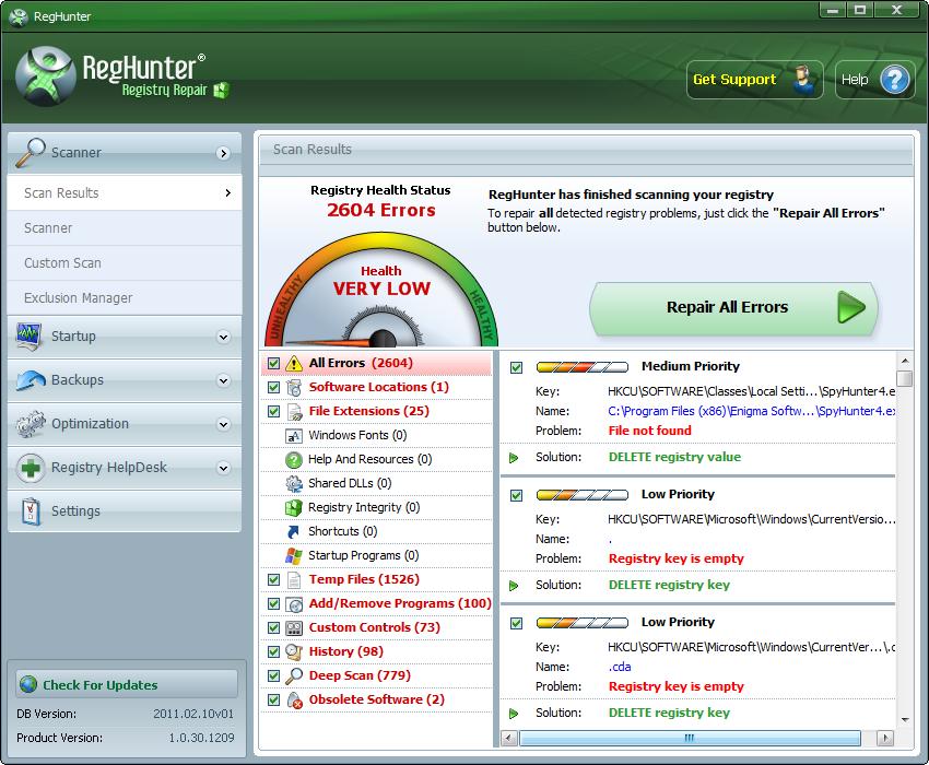 برنامج RegHunter تنظيف واصلاح الريجستري