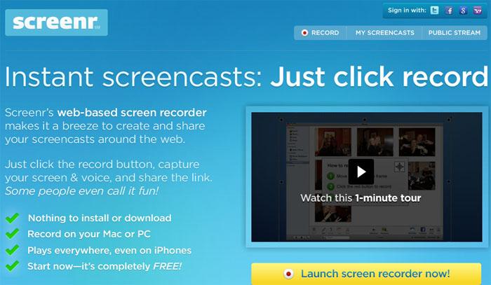 خدمة Screenr يتيح لك عمل شروحات بدون برامج