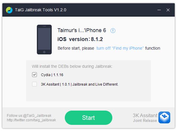TaiG 1.2.0 جيلبريك غير مقيد iOS 8.1.2 للايفون والايباد
