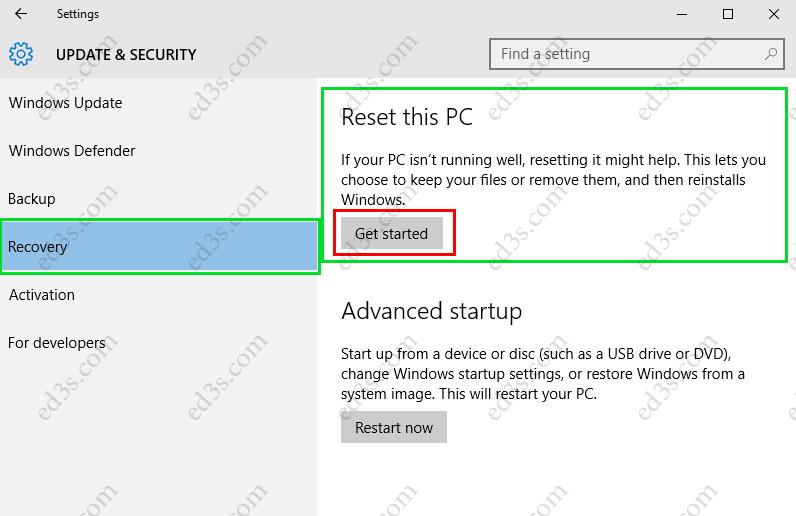 استعادة ويندوز 10 اعادة تعيين هذا الكمبيوتر Reset this PC