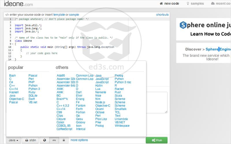 خدمة تجربة الاكواد البرمجية اونلاين للعديد من لغات البرمجة