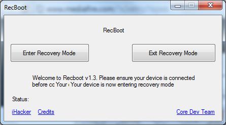 برنامج RecBoot الخروج من وضع DFU في الايفون والايباد