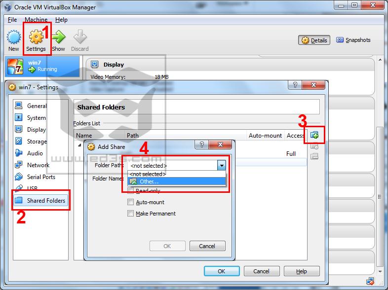 VirtualBox كيف تقوم بنقل الملفات من النظام الاساسي الى الوهمي